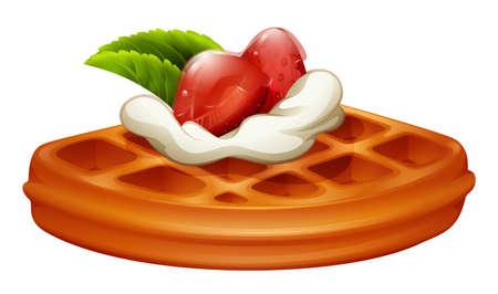 Wafel met aardbeien en slagroom illustratie