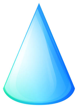 Blue cone on white illustration