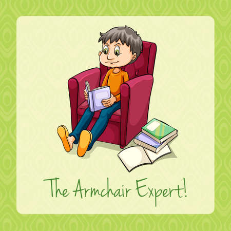 armchair: Idiom the armchair expert illustration