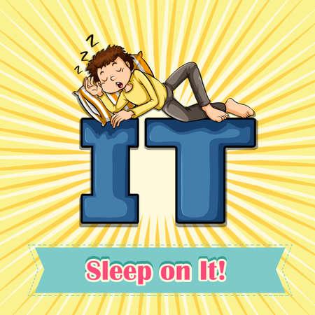 figurative art: Idiom sleep on it illustration
