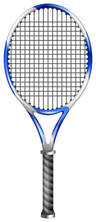 tennis net: Tennis racket on white illustration