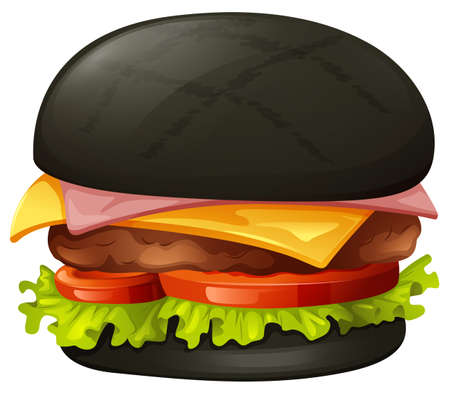 bun: Hamburger with black bun illustration