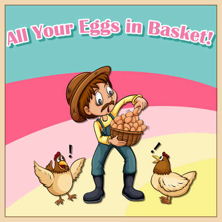 funny pictures: All your eggs in basket illustration Illustration