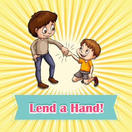 idiom: Idiom lend a hand illustration