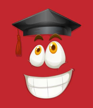 graduated: Happy face with graduation cap illustration