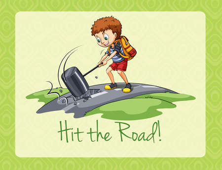 idiom: Idiom hit the road illustration Illustration
