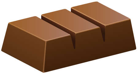 choc: Dark chocolate bar on white illustration