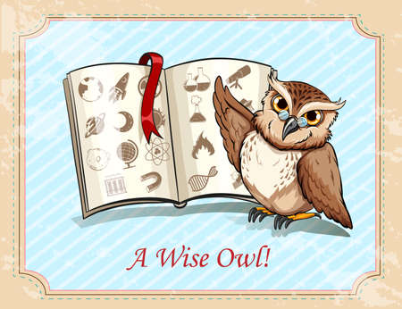 wise old owl: Idiom a wise owl illustration Illustration