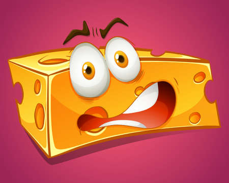 terrified: Terrified yellow cheese alone illustration