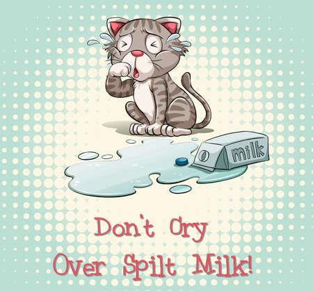 spilt: Dont cry over spilt milk illustration