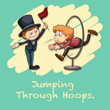 hoops: Idiom jumping through hoops illustration