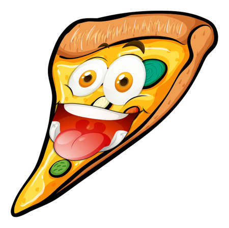 art piece: Pizza slice with funny face illustration Illustration