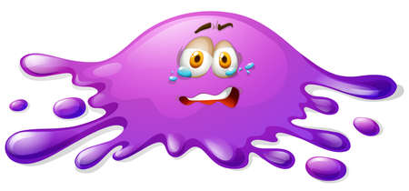 scared: Purple slime with crying face illustration