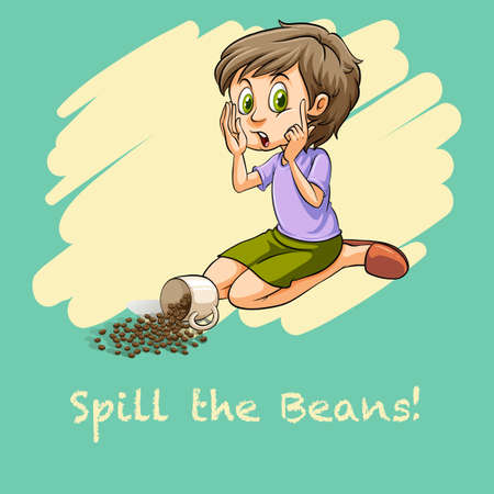 funny pictures: Woman spilt the beans illustration
