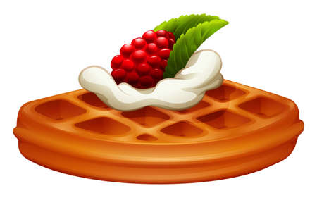rasberry: Waffle with rasberry and cream illustration