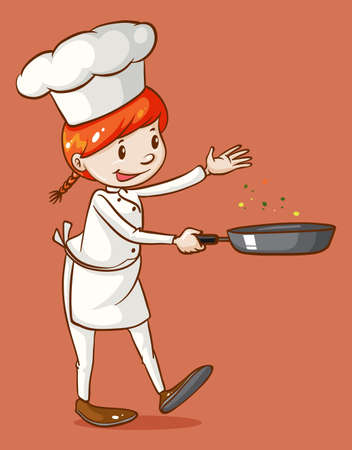 female chef: Female chef cooking with a pan illustration Illustration