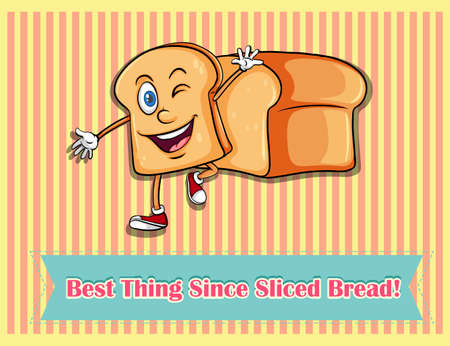 Slice of happy bread walking illustration Illustration
