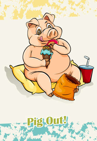 idiom: English idiom pig out illustration