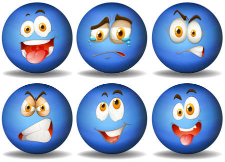 object with face: Blue ball with expression illustration Illustration