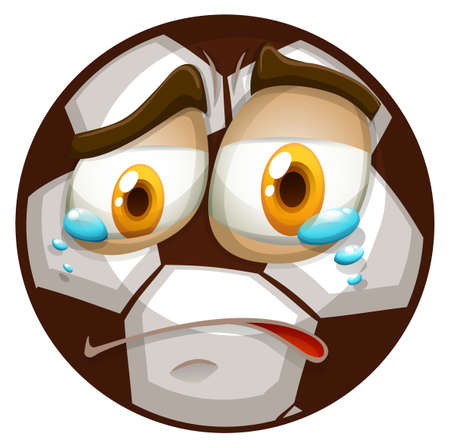 express feelings: Soccer ball with crying face illustration Illustration
