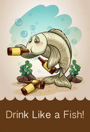 dizzy: Drunk fish drinking alcohol illustration