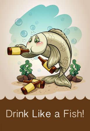 drinking alcohol: Drunk fish drinking alcohol illustration