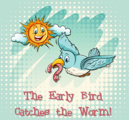figurative art: Early bird catches the worm illustration Illustration