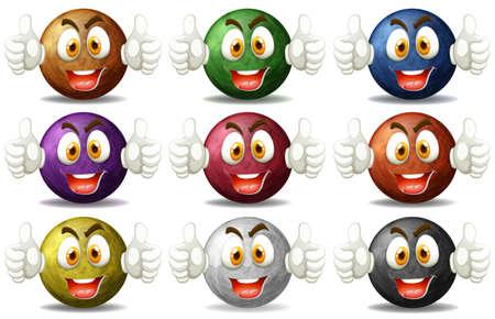 caras felices: Planeta se enfrenta con las emociones feliz ilustración