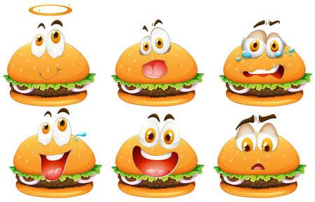 expression visage: Hamburger avec l'expression du visage illustration Illustration