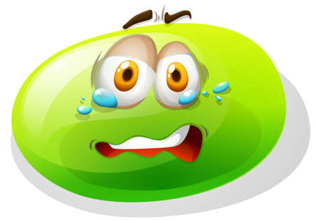 slime: Green slime with scared face illustration