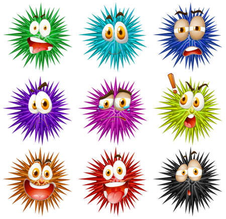 thorny: Thorny balls with faces illustration