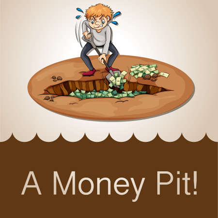 idiom: English idiom money pit illustration