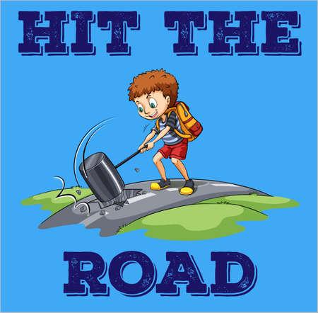 cartoon child: Boy hitting the road with hammer illustration