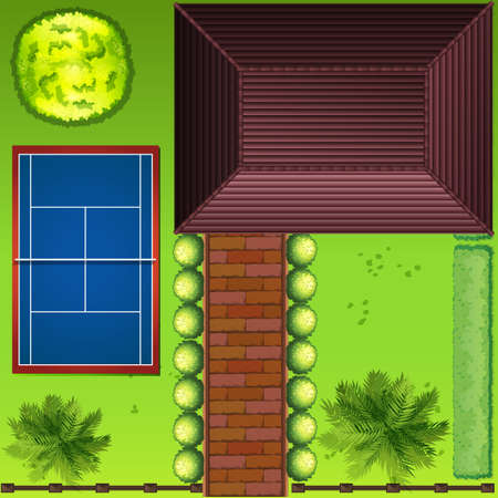 bovenaanzicht plant: Bovenaanzicht van een huis en de omliggende illustratie Stock Illustratie