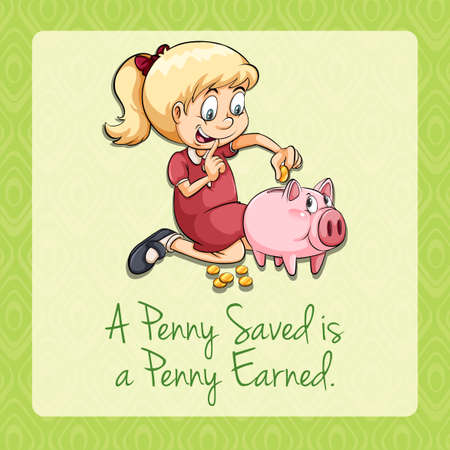 earned: Girl putting coins in piggy illustration Illustration