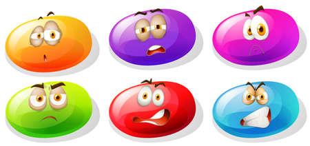 slime: Bright color slime with negative emotions illustration Illustration