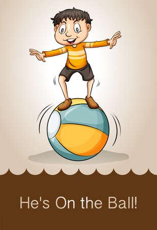 idioms: Man on the ball illustration