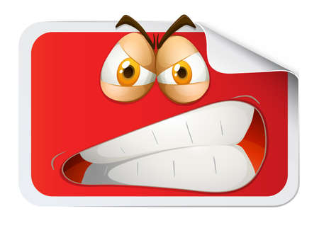furious: Red rectangular sticker with furious face illustration