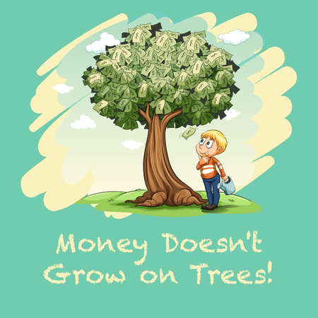 mature men: Man watering tree full of money illustration