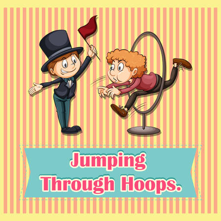 funny pictures: Man jumoing through hoops illustration Illustration