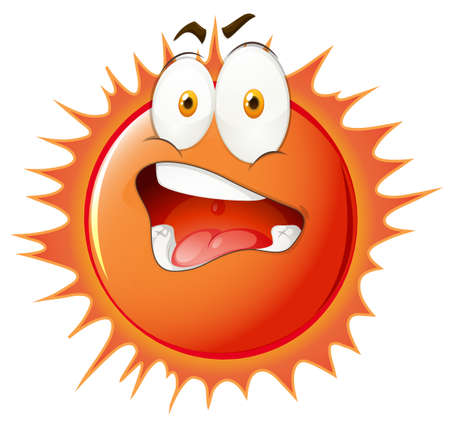uncomfortable: Sun with uncomfortable facial expression illustration Illustration