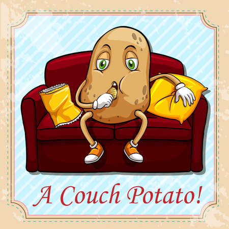 couch potato: Potato sitting on a couch illustration Illustration