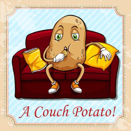 kanapa: Ziemniak siedzi na kanapie ilustracji Ilustracja