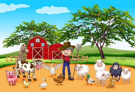 Farmer and many animals illustration
