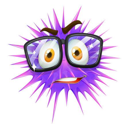slime: Nerd looking purple slime with thorns illustration