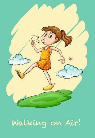 whistling: Girl walking in air  whistling  illustration