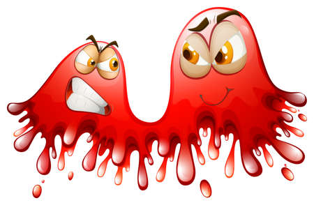 shinning: Red splashes with angry and smiling faces illustration