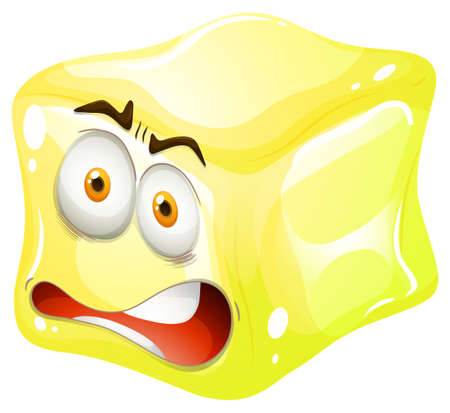 six objects: Yellow cube with tensed face illustration