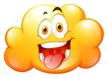 carita feliz: Nube amarilla con cara feliz ilustración Vectores