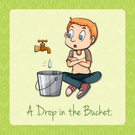 bucket water: Man watching water dropping in bucket illustration Illustration